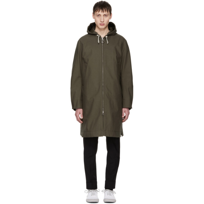 Acne Studios Green Melt Hooded Coat