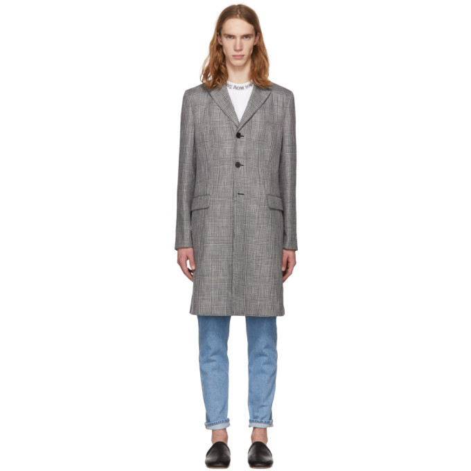 Acne Studios Grey Check Mawin Prince Coat