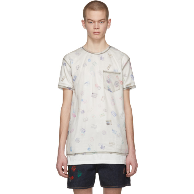 Image of Acne Studios Beige Batumy Stamp T-Shirt