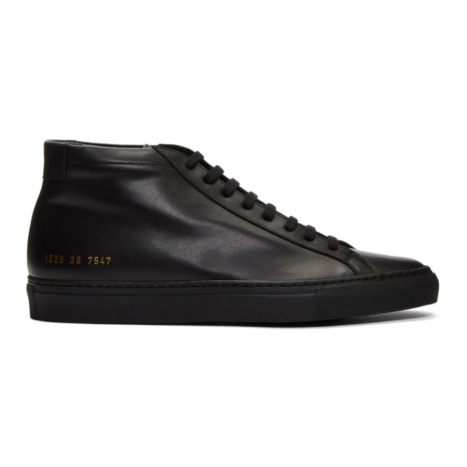 Image of Common Projects Black Original Achilles Mid Sneakers