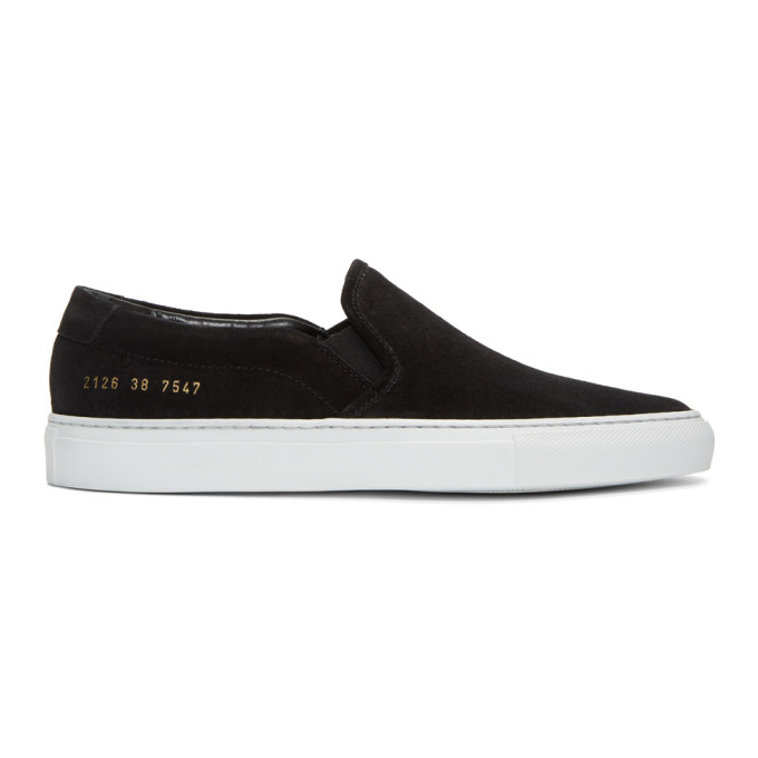 Image of Common Projects Black Suede Slip-On Sneakers
