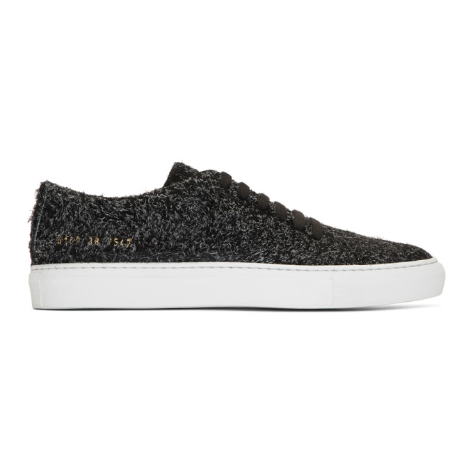 Image of Common Projects Black Suede Court Low Sneakers