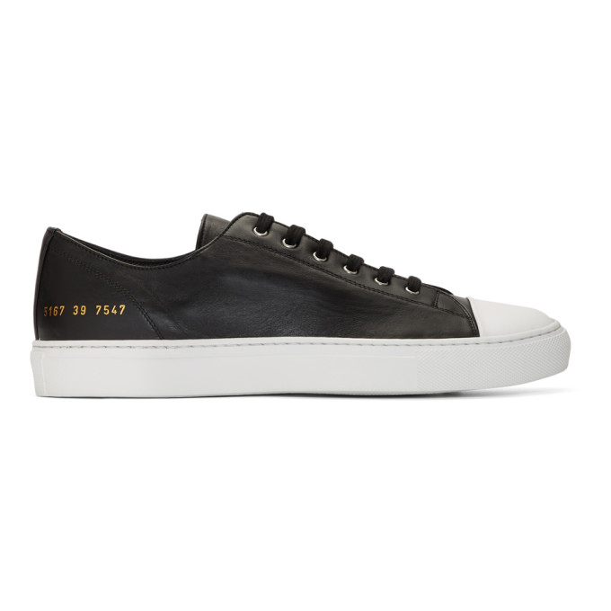Image of Common Projects Black Tournament Low Cap Toe Sneakers