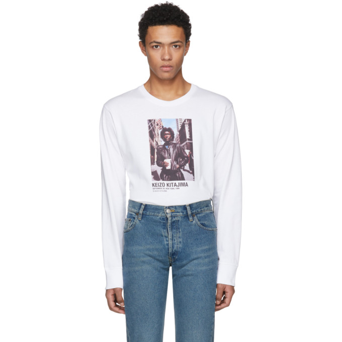Helmut Lang White Keizo Kitajima Edition Long Sleeve September 86 T-Shirt