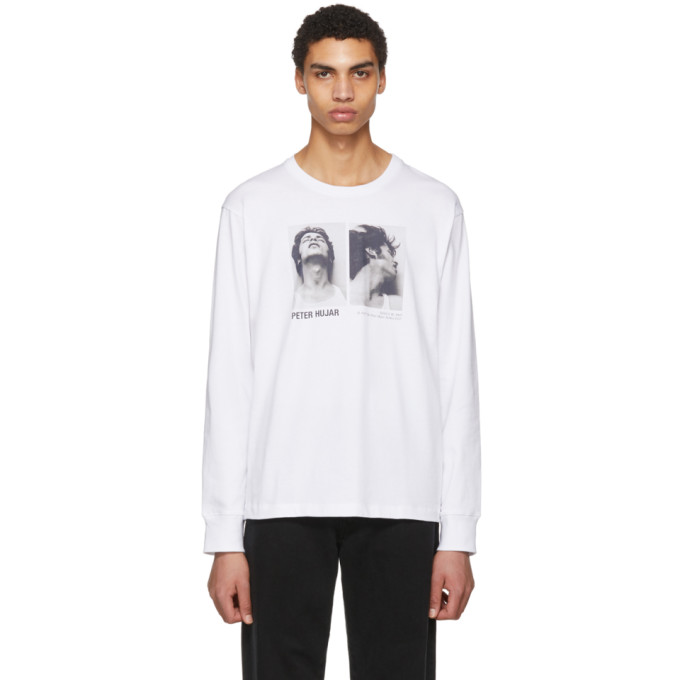 Helmut Lang White Peter Hajar Long Sleeve Look Up and Side Face T-Shirt