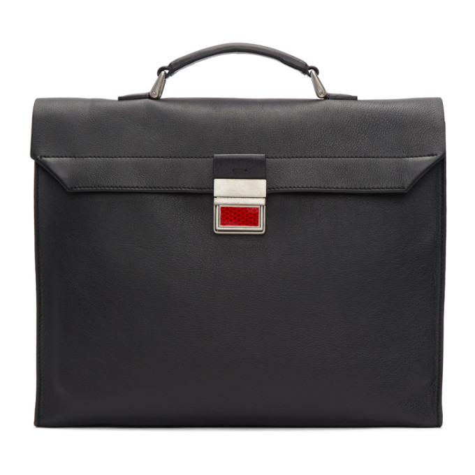 Maison Margiela Black Leather Rolled Up Briefcase
