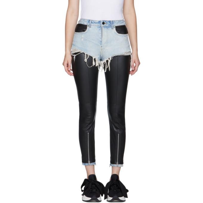 Alexander Wang Black & Blue Leather Hybridmoto Pants