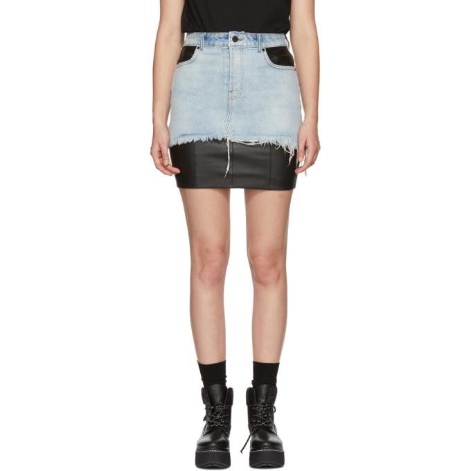 Alexander Wang Black Leather & Denim Hybrid Moto Skirt