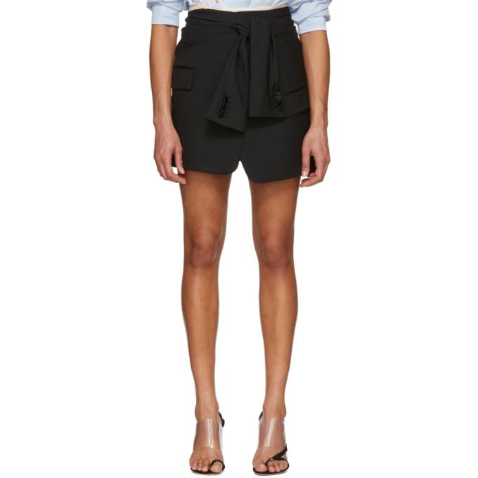 Image of Alexander Wang Black Asymmetric Tie Front Miniskirt