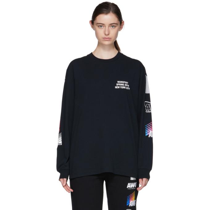 Alexander Wang SSENSE Exclusive Black Long Sleeve Sponsored High Twist T-Shirt