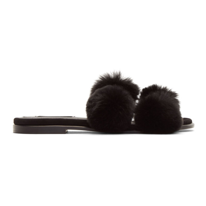 Image of Alexander Wang Black Ava Fur Slides