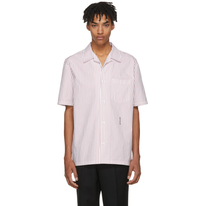 Alexander Wang White & Red Pinstripe Short Sleeve NY Post Made You Look Shirt