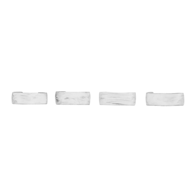 MM6 Maison Martin Margiela Set of Silver Casual Brushed Rings