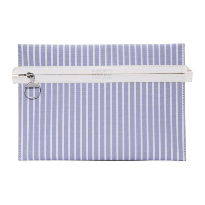 MM6 Maison Martin Margiela Blue & White Striped Zip Pouch