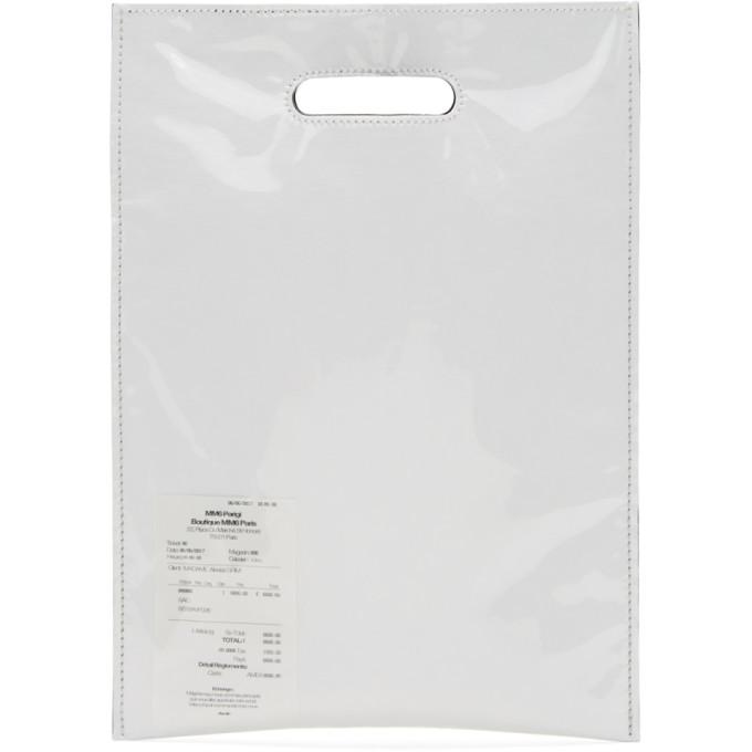 MM6 Maison Martin Margiela White PVC & Paper Receipt Tote