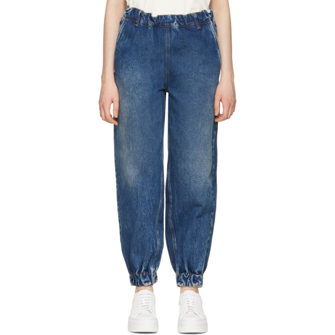 MM6 Maison Martin Margiela Blue 80's Wash Slouchy Tapered Jeans
