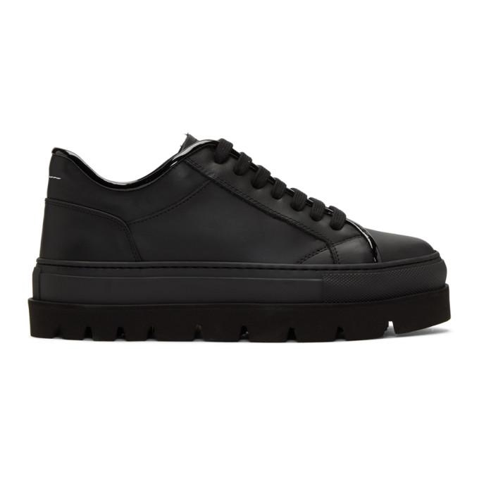 MM6 Maison Martin Margiela Black Leather Flatform Sneakers