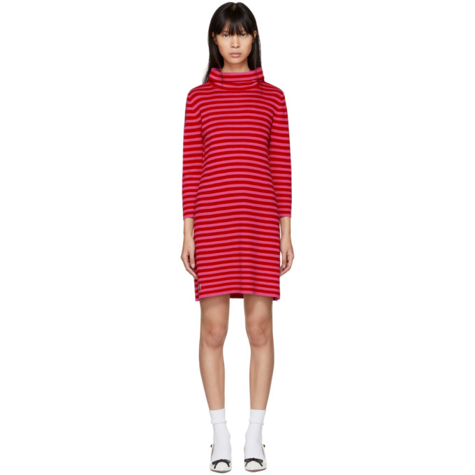 Marc Jacobs Red & Pink Striped Cowl Neck Dress