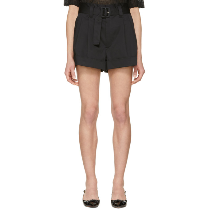 Marc Jacobs Black High-Rise Pleated Shorts