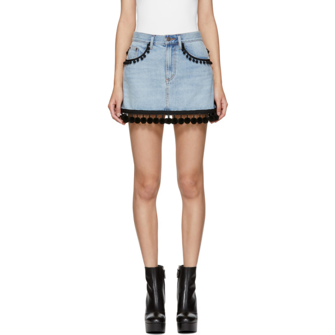 Marc Jacobs Indigo Denim Pom Pom Miniskirt