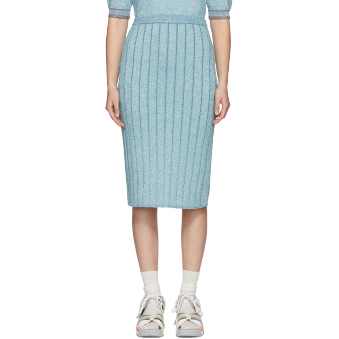 Marc Jacobs Blue Lurex Pencil Skirt