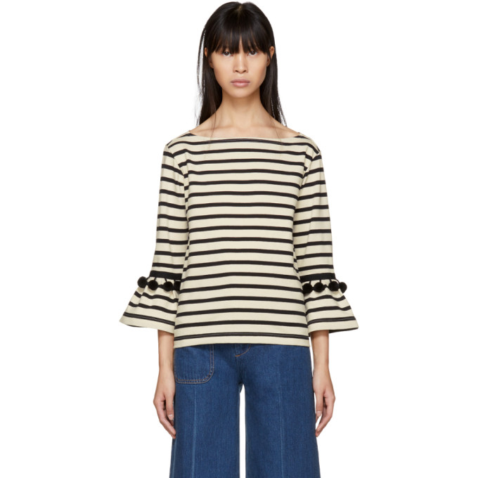 Marc Jacobs White & Black Striped Pom Pom T-Shirt