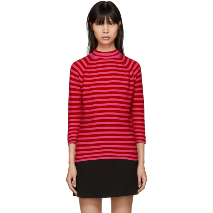 Marc Jacobs Red & Pink Striped Mock Neck Sweater