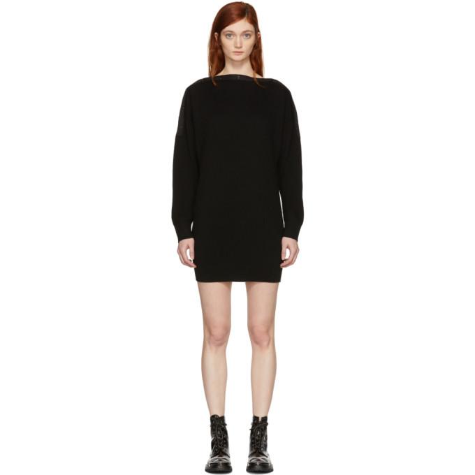 T by Alexander Wang Black Snap Detail Off-the-Shoulder Dress
