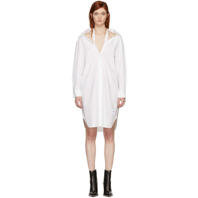 T by Alexander Wang White Tape Shirt Dress