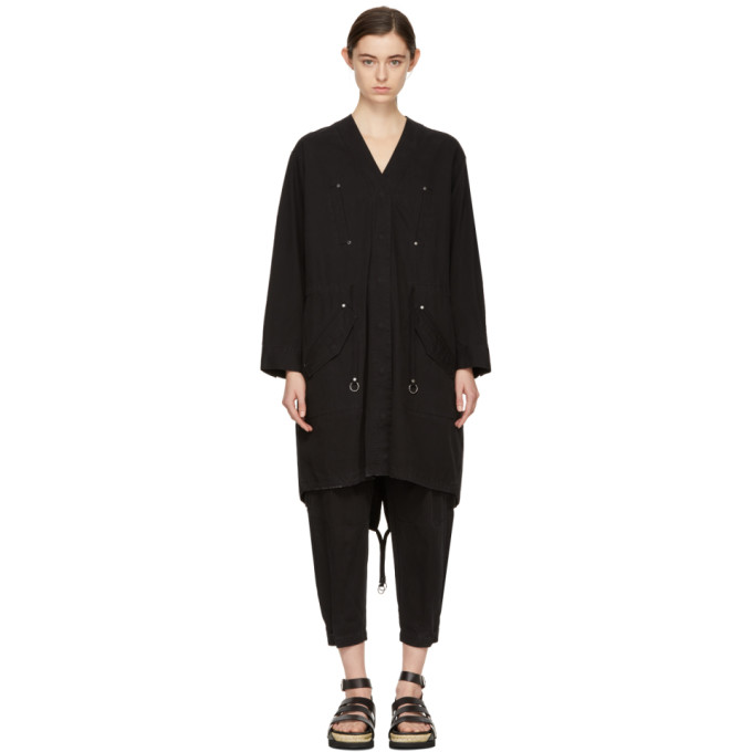 T by Alexander Wang Black Twill Coat