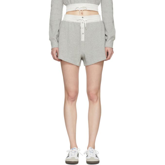 T by Alexander Wang Grey Heavy Waffle Gym Shorts