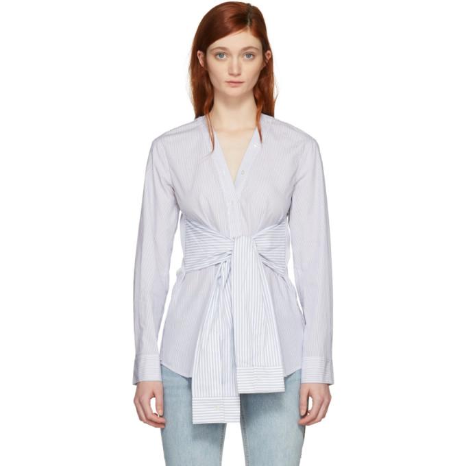 T by Alexander Wang White & Blue Multi Stripe Tie Shirt
