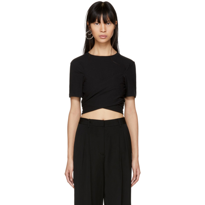 T by Alexander Wang Black High Twist Draped Cropped T-Shirt