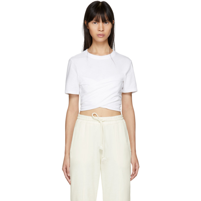 T by Alexander Wang White High Twist Draped Cropped T-Shirt
