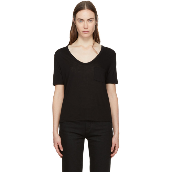 T by Alexander Wang Black Classic Cropped Pocket T-Shirt