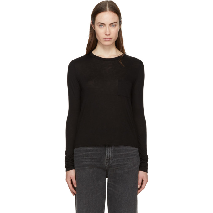 T by Alexander Wang Black Long Sleeve Classic T-Shirt