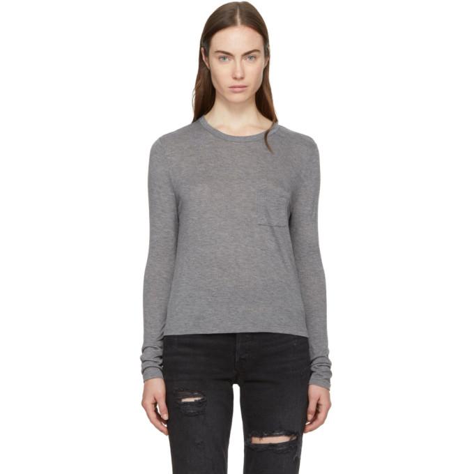 T by Alexander Wang Grey Long Sleeve Classic T-Shirt