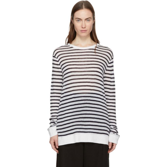 T by Alexander Wang Ivory & Navy Striped Long Sleeve Cropped T-Shirt