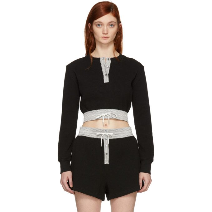 T by Alexander Wang Black Heavy Waffle Cropped T-Shirt