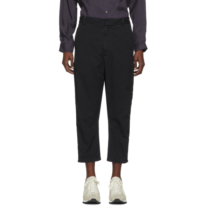 Image of Robert Geller Black Bertrand Paper Cotton Trousers