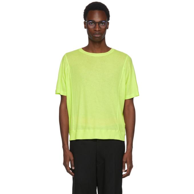 Image of Robert Geller Green Seamed Lightweight T-Shirt