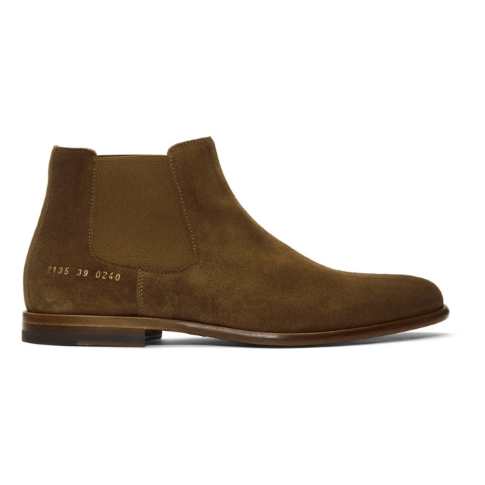 Robert Geller Taupe Common Projects Edition Suede Chelsea Boots