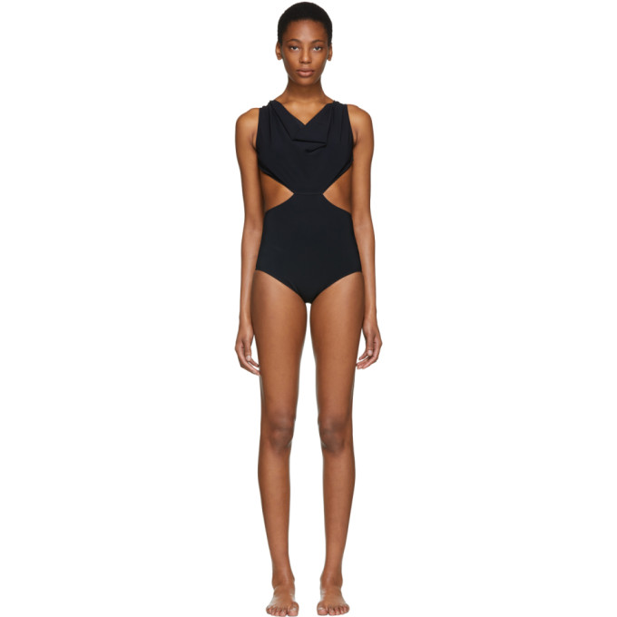 Rick Owens Black Draped Swimsuit