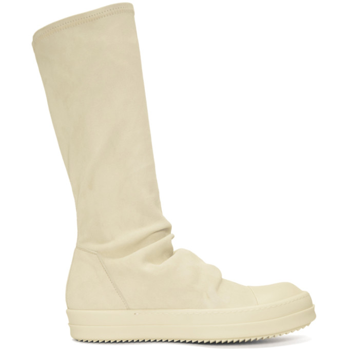 Rick Owens Off-White Suede Sock High-Top Sneakers