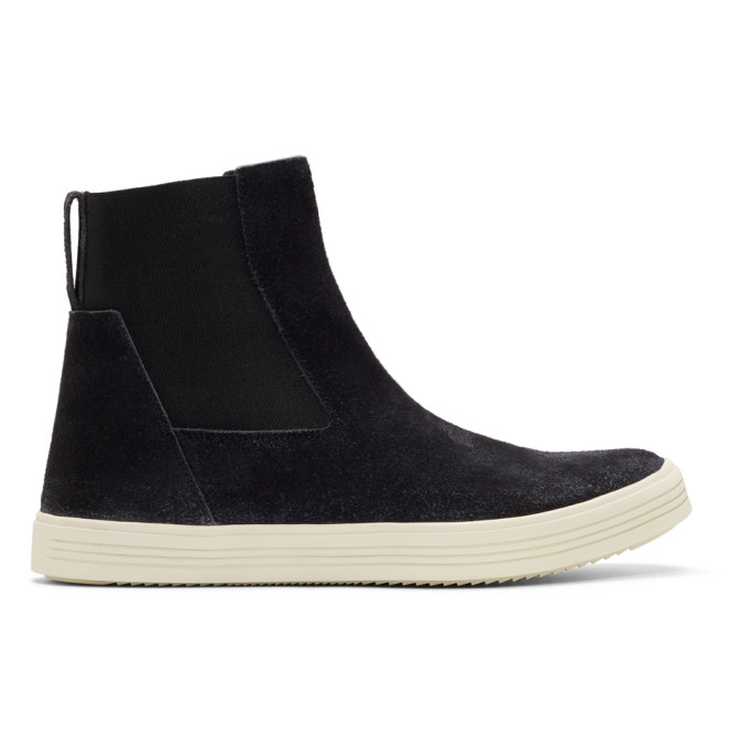 Rick Owens Black & Off-White Suede Mastodon Elastic Boots