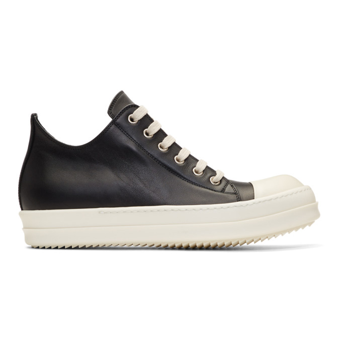 Rick Owens Black & Off-White Leather Low Sneakers
