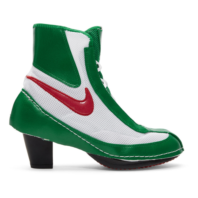 Comme des Garcons Green & White Nike Edition Heeled Boxing Boots