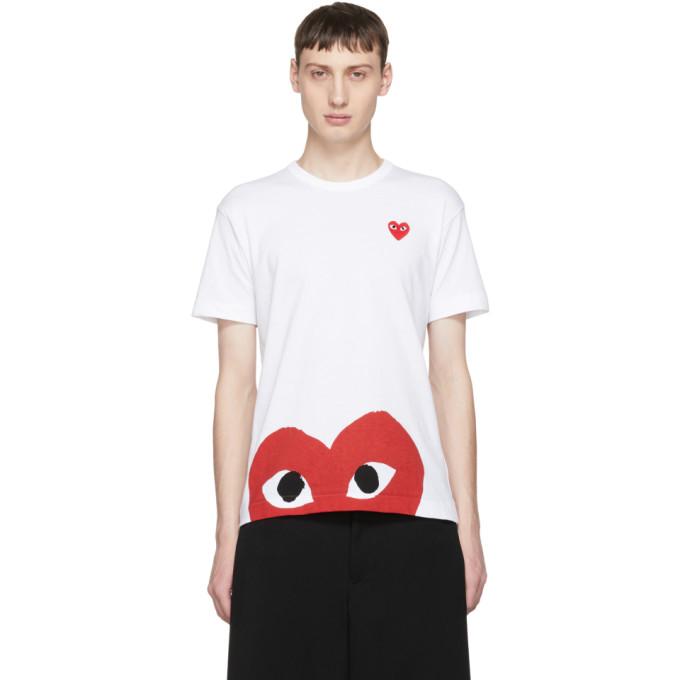 Comme des Garçons Play White & Red Half Heart T-Shirt