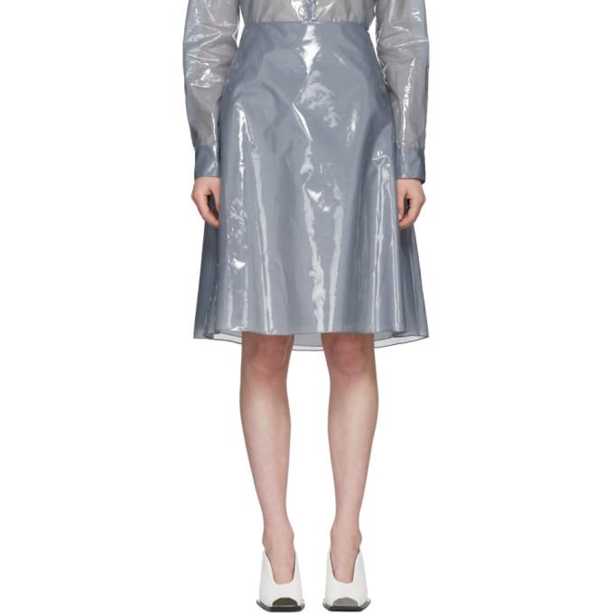 Jil Sander Blue Plastic Coating Essere Skirt