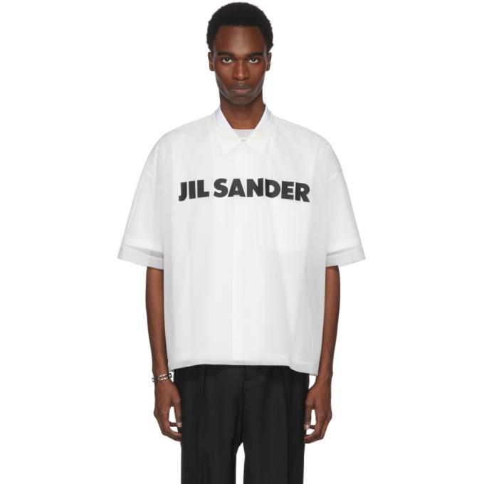 Jil Sander White Mesh Logo T-Shirt